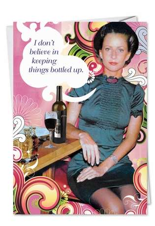 Bottled Up Unique Humorous Birthday Greeting Card