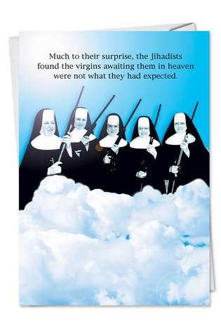 Original Virgins In Heaven Funny Image Birthday Card Nobleworks
