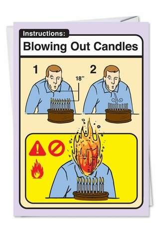 Blowing Candles Adult Humorous Birthday Paper Card Nobleworks
