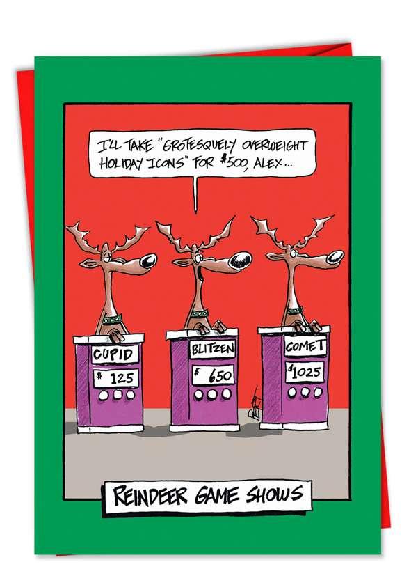 Reindeer gameshow christmas card nobleworkscards com for Funny reindeer christmas cards