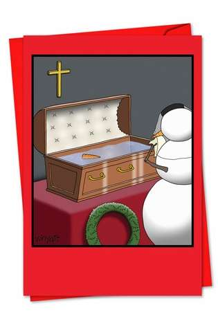 Snowman Coffin Christmas Greeting Card By Nobleworks