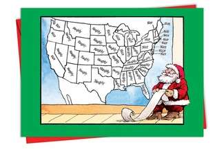 Naughty Nice Map Unique Adult Humor Merry Christmas Greeting Card Nobleworks