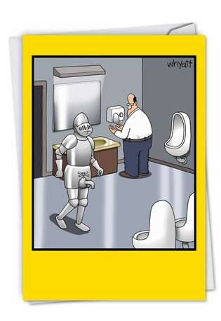 Bathroom Knight Birthday Greeting Card By Nobleworks