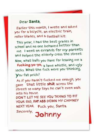 Fuck You Santa Letter Naughty Humor Merry Christmas Greeting Card Nobleworks