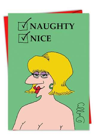 Naughty Nice Adult Humor Merry Christmas Greeting Card Nobleworks