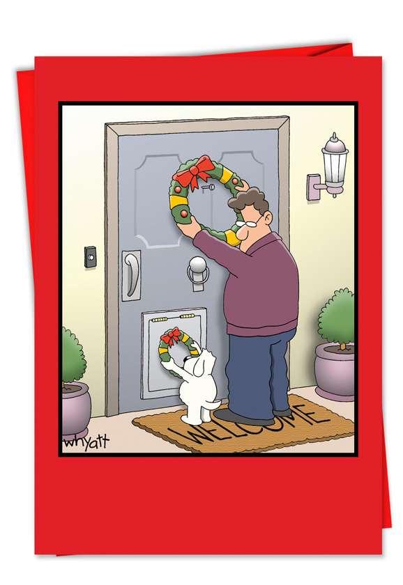 Tim Whyatt Dog Wreath Adult Humorous Merry Christmas Paper Card Nobleworks