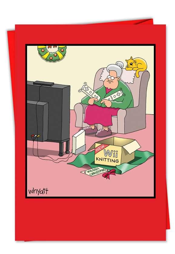 Tim Whyatt Wii Christmas Humorous Merry Christmas Paper Card Nobleworks