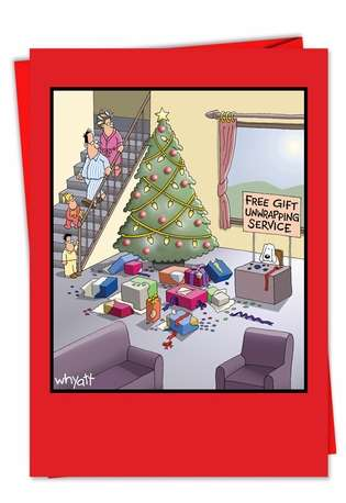 Tim Whyatt Gift Unwrapping Service Fun Image Christmas Card Nobleworks