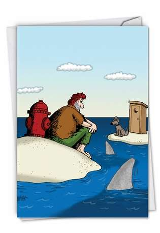 Dog Piss Island Funny Pic Birthday Paper Card Nobleworks