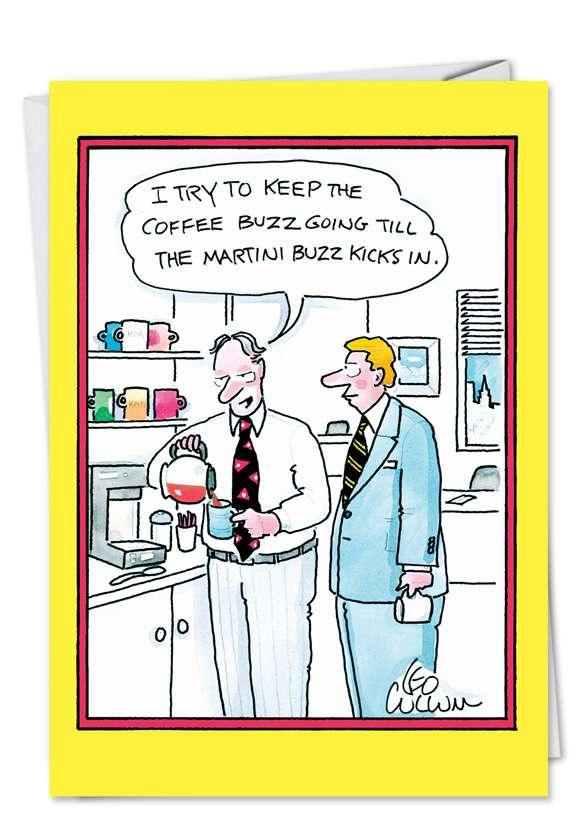 5057 Coffee Buzz Funny Cartoons Happy Birthday Card Jpg