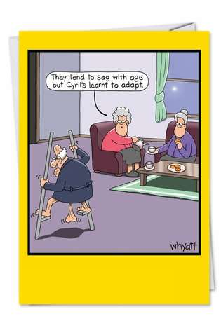 Tim Whyatt Breast Humor, Sagging Breasts, Old Age, Bra Jokes, Over The Hill  Stilts Humorous Photo Retirement Paper Card Nobleworks