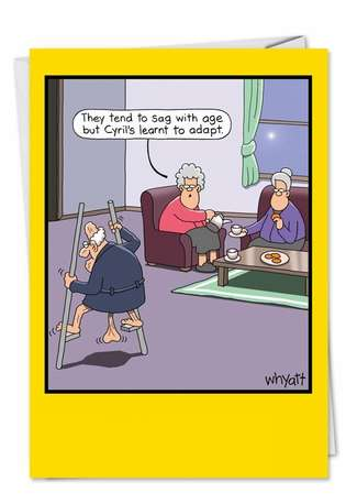 Tim Whyatt Breast Humor, Sagging Breasts, Old Age, Bra Jokes, Over The Hill  Stilts Humor Photo Birthday Card Nobleworks