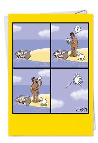 Tim Whyatt Animal Cruelty, Sex Humor, Dog Jokes, Cartoons Flying Dog Funny Image Birthday Paper Card Nobleworks