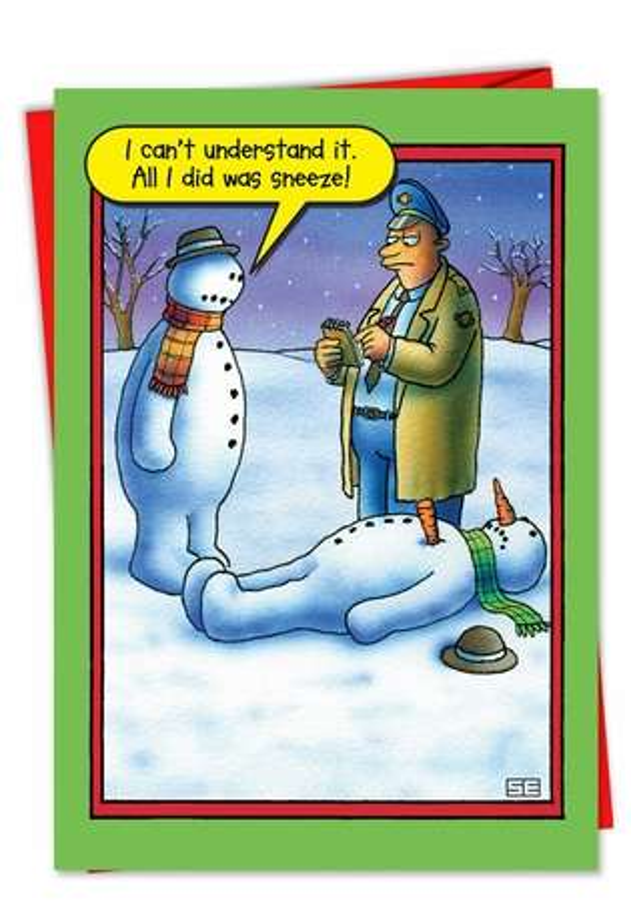 Snowman Sneeze Humorous Merry Christmas Paper Card Nobleworks