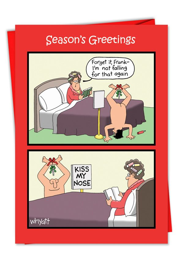 Tim Whyatt Kiss Nose Mistletoe Naughty Humor Merry Christmas Greeting Card Nobleworks
