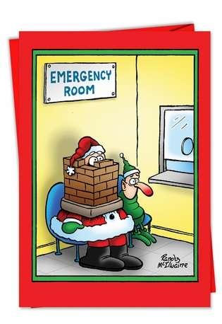 Santa Stuck Adult Funny Merry Christmas Card Nobleworks