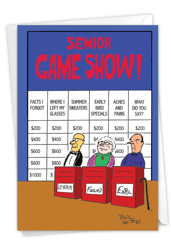 Senior Jeopardy Humorous Birthday Paper Card Nobleworks