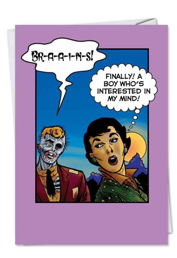 Zombie Brains Humorous Valentine's Day Greeting Card