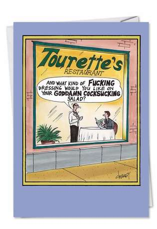 Tourettes Restaurant Unique Adult Funny Birthday Card Nobleworks