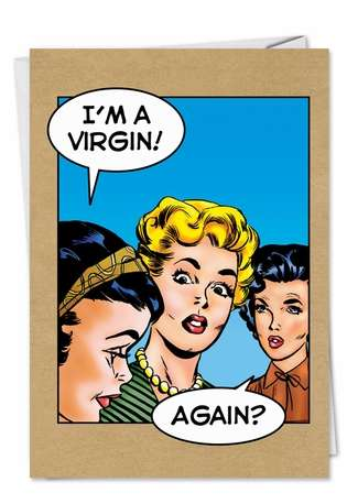 Virgin Again Inappropriate Funny Birthday Card Nobleworks