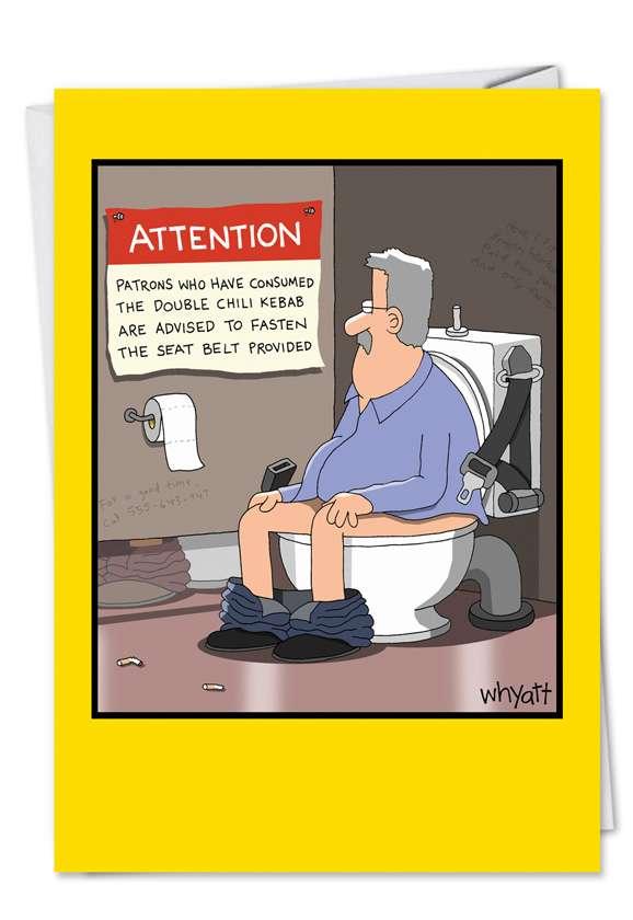 Tim Whyatt Bathroom Toilet Chili Kebab Humorous Photo Birthday Paper Card Nobleworks