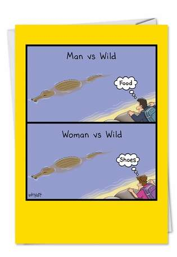 Tim Whyatt Woman Vs Wild Humorous Birthday Paper Card Nobleworks
