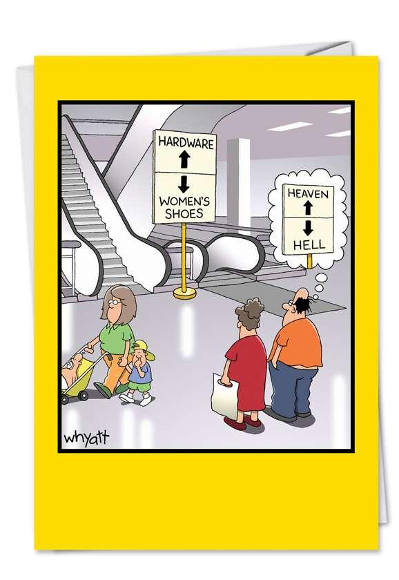 Tim Whyatt Heaven Hell Naughty Humorous Birthday Paper Card Nobleworks