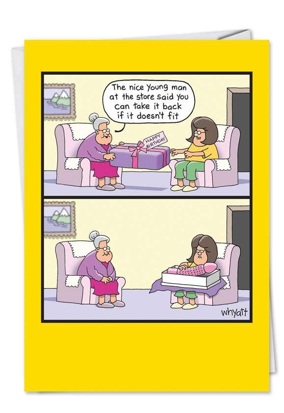 Tim Whyatt Doesnt Fit Adult Humorous Birthday Paper Card Nobleworks
