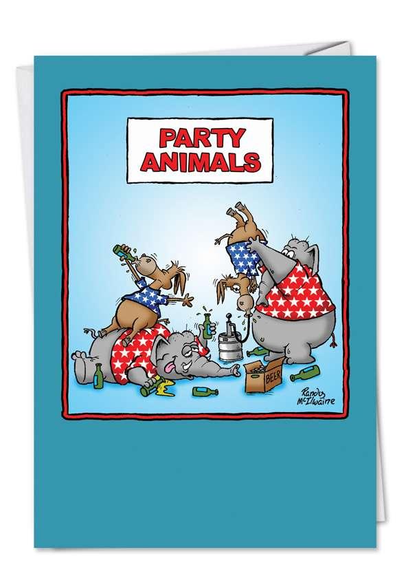 adult funny birthday card party animals, Birthday card