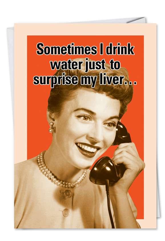 Retro Drinking Secretary Drink Water Humorous Image Birthday Paper Card Nobleworks