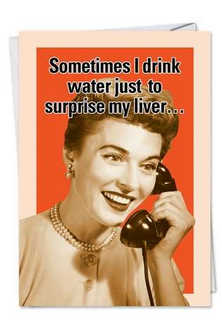 Retro Drinking Secretary Drink Water Blank Fun Image All Occasions Card Nobleworks