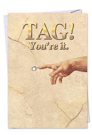 Michelangelo Creation Adam Tag You Are It Bd Fun Pic Birthday Paper Card Nobleworks