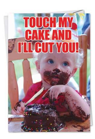 Touch Cake Birthday Funny Paper Card