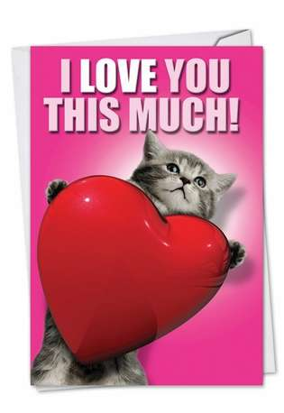I Love You This Much Cat Valentine's Day Humor Card