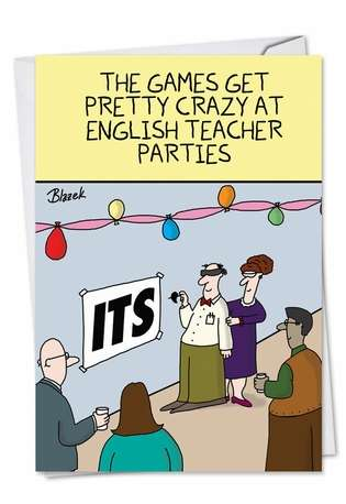 English Teacher Party Birthday Card By Nobleworks