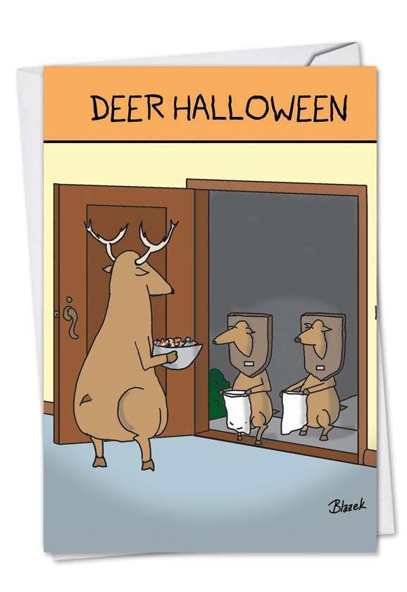 Deer Halloween Halloween Greeting Card By Nobleworks
