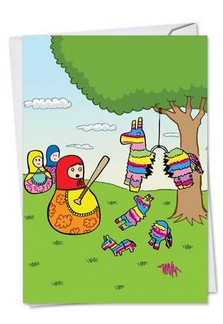Nesting Pinatas Birthday Greeting Card By Nobleworks