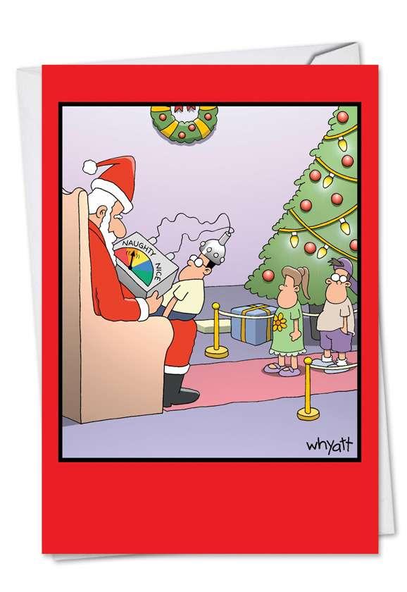 Naughty Nice Meter Christmas Greeting Card By Nobleworks