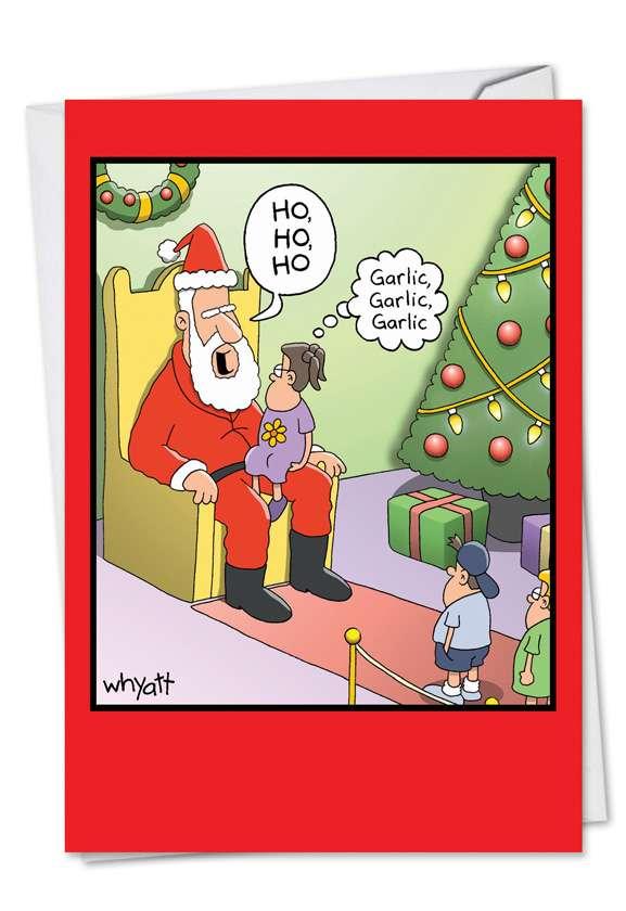 Santa Garlic Breath Christmas Paper Card By Nobleworks