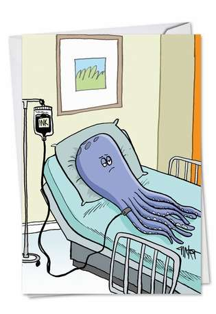 Octopus Ink Transfusion Get Well Card By Nobleworks
